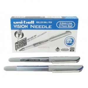 stylo-noir-roller-eye-vision-needle-0.7mm-ub-187s-bk